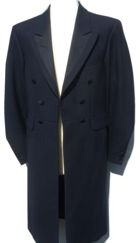 NAVY BLUE FROCKCOAT FROCK COAT WEDDING PROM LONG GOTHIC GOTH VICTORIAN STEAMPUNK