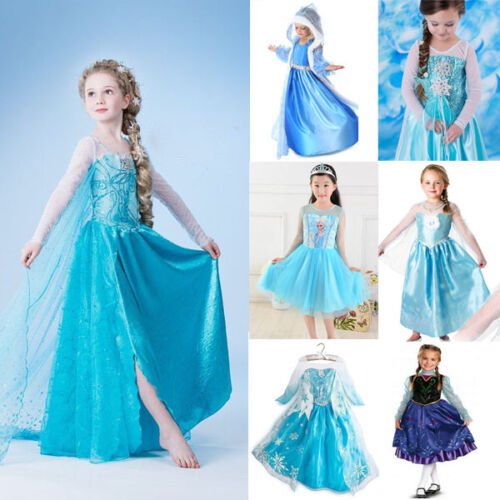 NSW Girl Anna Elsa Costume Dress for Party Birthday Dress 1-8 Years