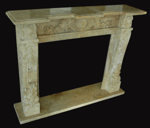 Camino Pietra Travertino Old Interior Classic Vintage Design Old Stone Fireplace
