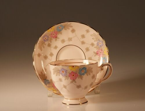 Pink Tuscan China Footed Cup and Saucer pattern #6457 H, Made In England