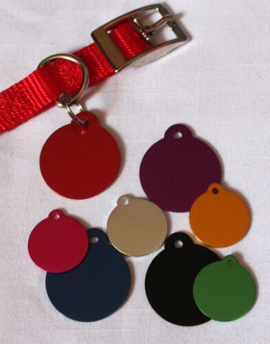 Round ID Tag for Dog Pet Cat Small/Large Choose from 8 Colors ENGRAVED