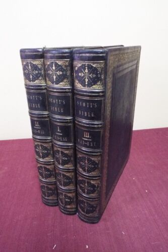 Rare 1843-45 SCOTT'S BIBLE 3 Volumes