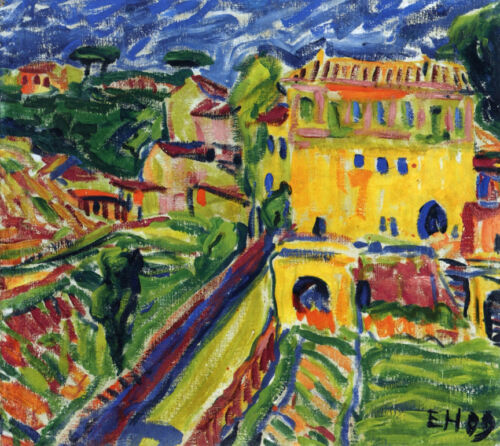 Houses near Rome  by Erich Heckel   Giclee Canvas Print Repro