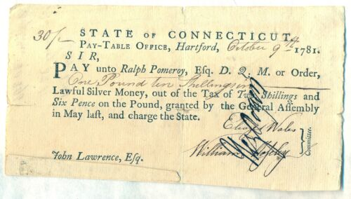 State of Connecticut Revolutionary War Pay Table Military Soldier Document Original Period Items - 10951