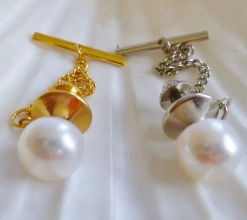 MEN'S TIE PIN / TAC WHITE 10 mm Freshwater Pearl GOLD PLT OR SILVER PLT & Chain