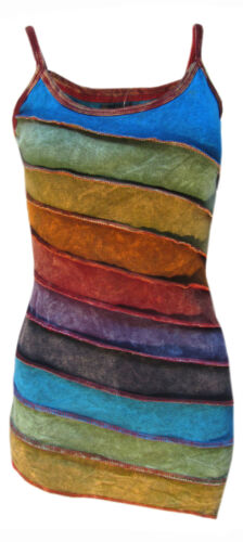 Womens Stonewashed Boho Colorful Summer Rainbow Sidecut Nepalese Strap Dress/Top <br/> Hippie Gypsy Sleeveless Cotton Natural Casual Dress Top