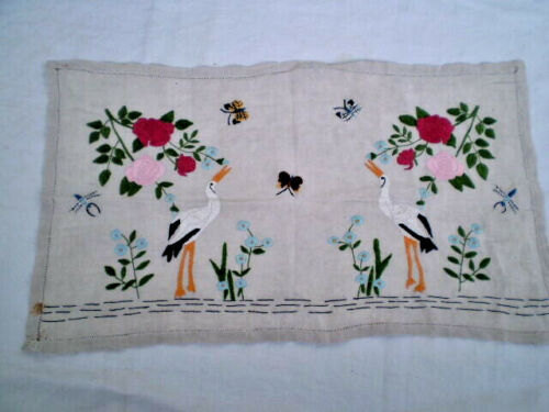 Vintage old FIGURAL hand-embroidered tapestry 100% Cotton  Multi-Color