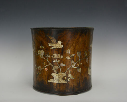 Large Old Chinese Huanghuali Hardwood Brush Pot with Mother of Pearl Inlaid
