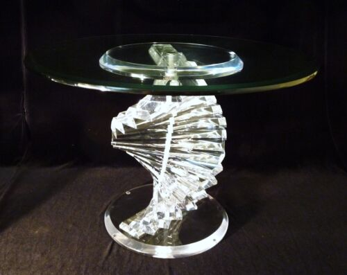 Vintage Mid Century Acrylic Lucite Crystal Top Spiral DNA Helix Side Table 1of 2