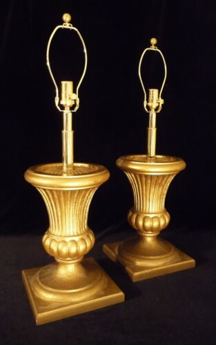 Pair 1950's Golden Wood Style Ribbed Spanish Urn-StyleTable Lamps
