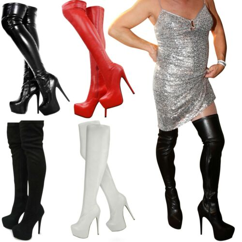 MENS WIDE LEG STRETCH OVER THE KNEE THIGH HIGH SEXY STILETTO HEEL PLATFORM BOOTS