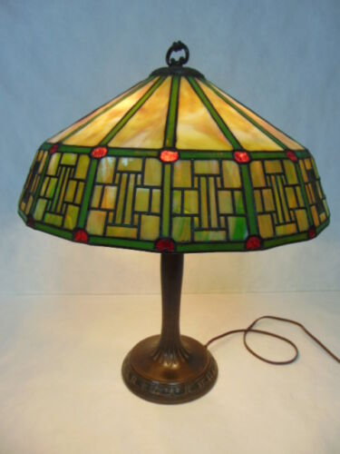 ORIGINAL ANTIQUE MISSION ARTS & CRAFTS STAINED SLAG GLASS LAMP BY HANDEL