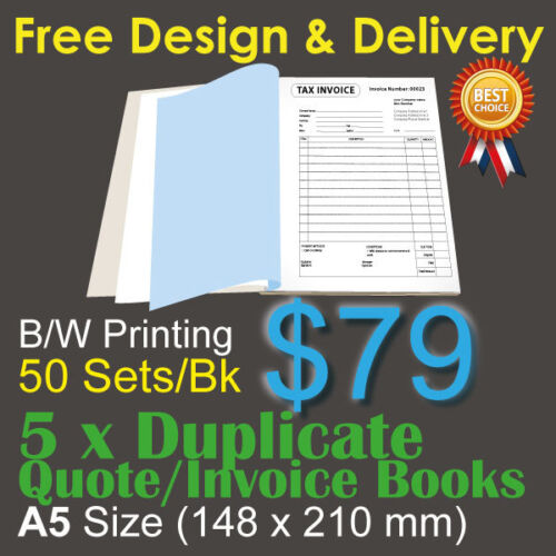5 x A5 Customised Printed Duplicate QUOTE / Tax INVOICE Books + Free Design&Post