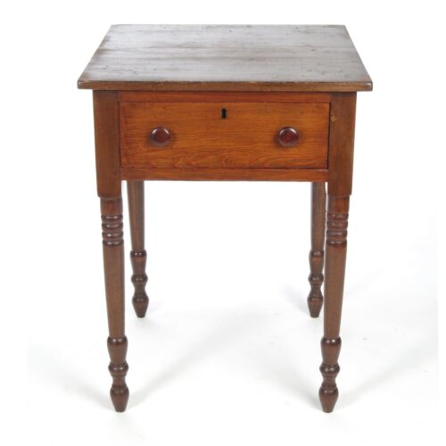 Antique 19th c one drawer stand small work side table turned legs American