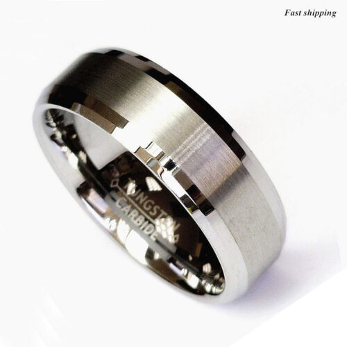 Titanium Color Two Tone Tungsten Carbide Wedding Band Men's Ring Bridal Jewelry
