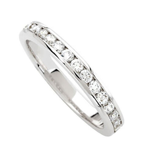 Diamond Wedding Band Ring 0.55 Ct Round Cut 14K White Gold channel Anniversary
