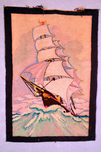 """Antique Hand Hooked Rug - 40-3/4""""x 28"""" - Sail Boat in Sea - 1940's"""