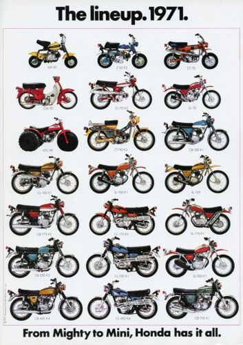 1971 HONDA LINE UP FULL LINE VINTAGE MOTORCYCLE AD POSTER PRINT 36x25 9MIL PAPER