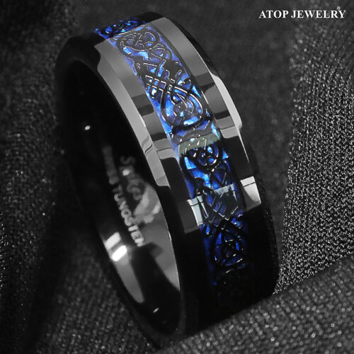 8/6mm Tungsten Carbide Ring Black Celtic Dragon Blue carbon fibre ATOP Jewelry