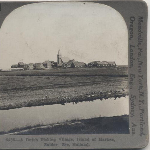 STEREOVIEW, LANDSCAPE, DUTCH VILLAGE, ZUIDER SEE HOLLAND.