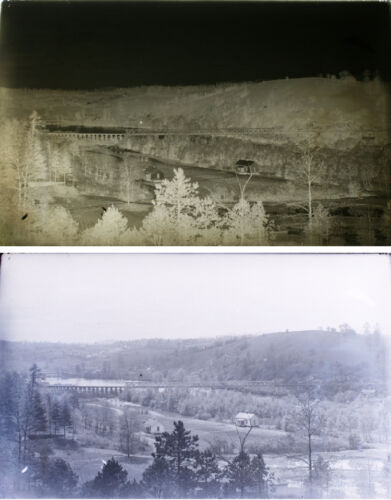 1920S 5X8 GLASS NEGATIVE OF COUNTRY VALLEY W/ RAILROAD TRACKS IN ENVELOPE