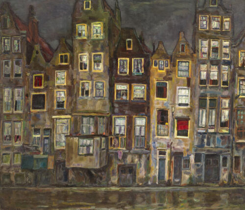 Houses at the Oudezijds, Amsterdam  by Sluyters Jan   Giclee Canvas Print Repro