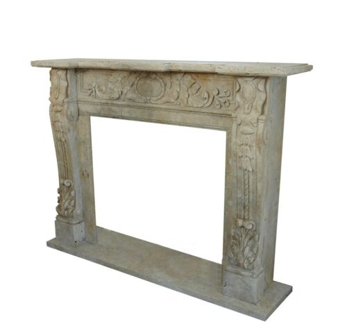 Camino Classico Caminetto Travertino Classic Stone Travertine Marble Fireplace