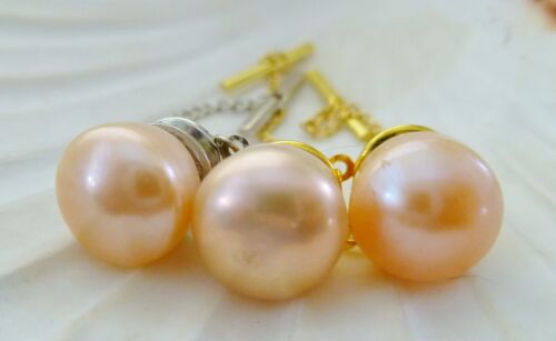 MEN'S TIE PIN / TAC APRICOT 11mm Freshwater Pearl GOLD PLT or SILVER PLT & Chain