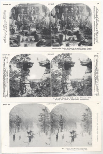 STEREOVIEWS, LITHOGRAPHS, UNIQUE AND CHRISTMAS, SET OF 3.