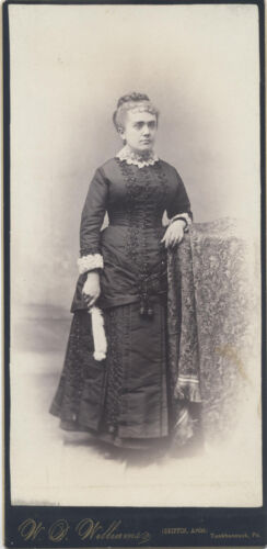 CABINET CARD OF WOMAN IN BLACK, PHOTO OF ARTISTS PORTRAIT, SET OF 2.