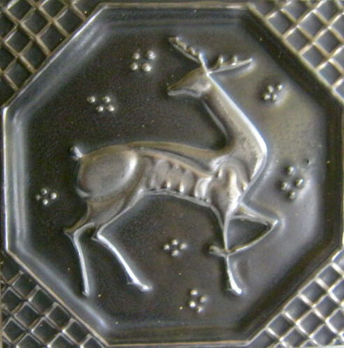 "AETCO Deer Tile Vintage American Encaustic Tile Black Silver Thick Old 6"" x 6"""