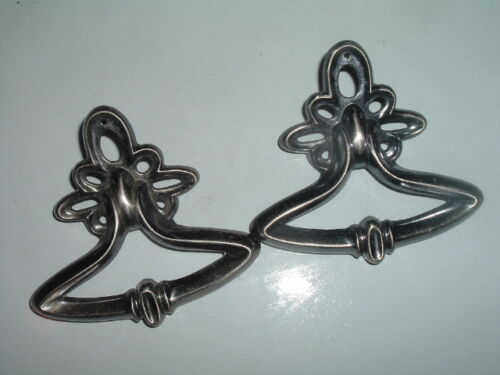 Classic Pair of Polished Pewter Drawer Pull Knobs BEAUTIFUL