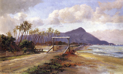 View of Diamond Head  by Charles Furneaux   Giclee Canvas Print Repro