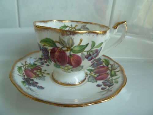 Vintage Queen Anne England  FRUIT SERIES Tea Cup and Saucer Set EC