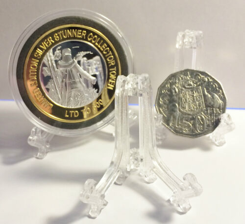 1 x  Adjustable Coin Display Stand, Easel, Holder Fits many sized coins/Ingots