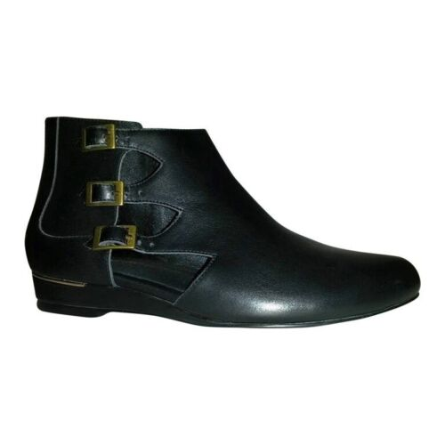 Size 10 Narrow Fit Women's Black Leather Cut Out Wedge Boots with Low 2cm Heel