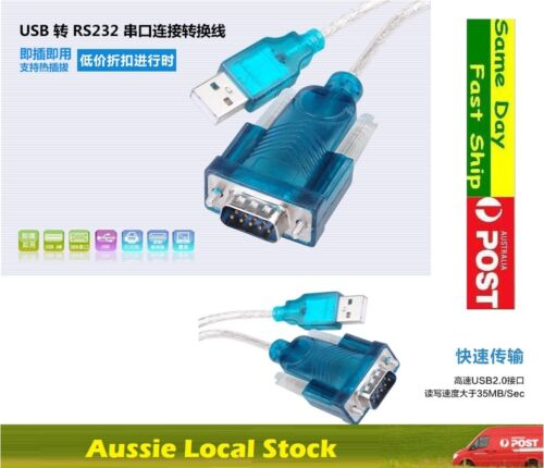 .USB Type A Male to RS232 COM Port Serial PDA 9 pin DB9 Cable Adapter HL-340 AU