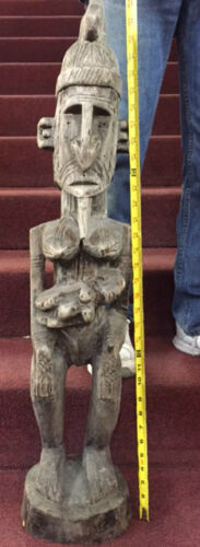 "SENUFO TRIBE FERTILITY  GOD ICON AFRICA 34"" ART WOOD CARVED TALL IVORY COAST"