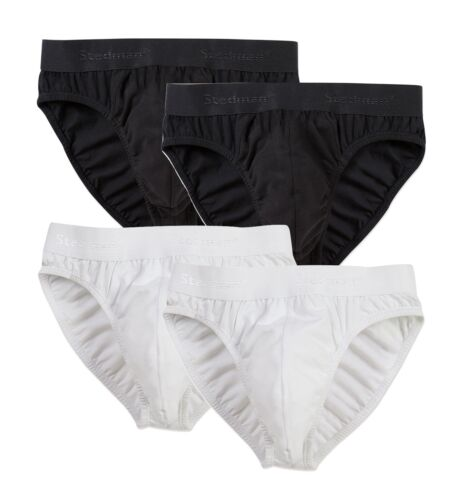 2 Pack of Stretch Cotton Mens Mans Black or White Briefs Slips Pants