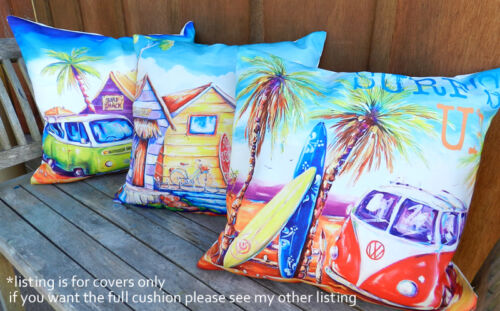 DEBORAH BROUGHTON ART Throw Pillow Cushion COVER 45x45cm Surf Beach & Kombi  <br/> Price is for ONE COVER - fits 45x45 or 50x50cm fill