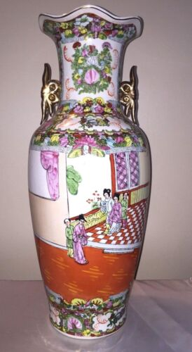 """ANTIQUE CHINESE FAMILLE ROSE VASE LATE 1800 EARLY 1900 EXPORTWARE LARGE 24"""" TALL"""