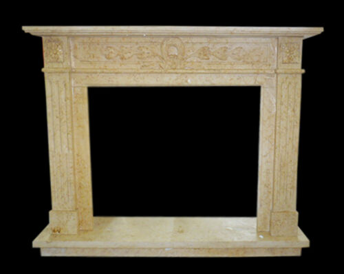 Cornice Caminetto Camino in Travertino Classico Old Fireplace Marble Frame Top