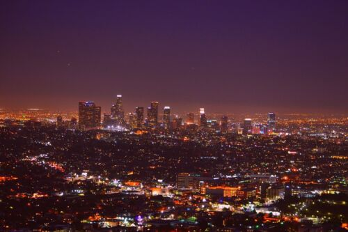 LOS ANGELES CALIFORNIA SKYLINE POSTER PRINT STYLE D 24x36 HI RES 9 MIL PAPER