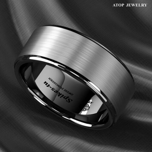 8/6mm Black Brushed Titanium Color Tungsten ring Wedding Band Ring Men's Jewelry