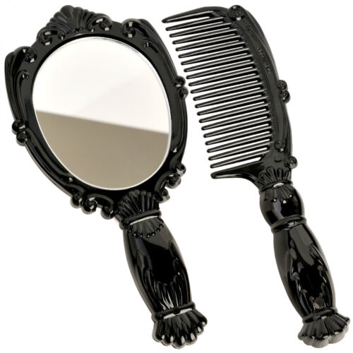 Small Vintage Antique Style Hand Held Vanity Makeup Cosmetic Comb Mirror Set