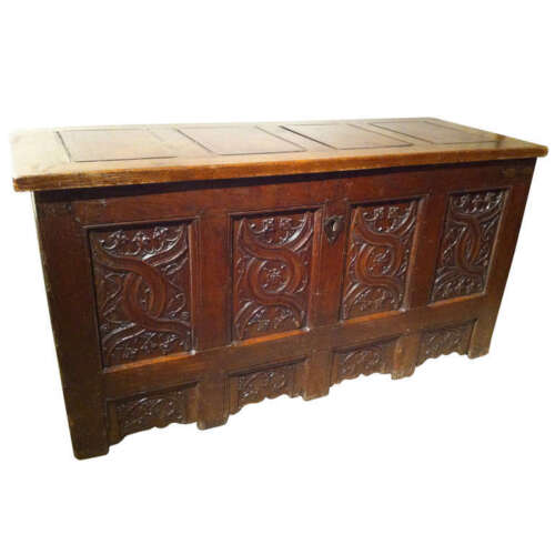 Gothic Oak Chest with Carved Linenfold Panels - Large Scale, 70 inches wide!