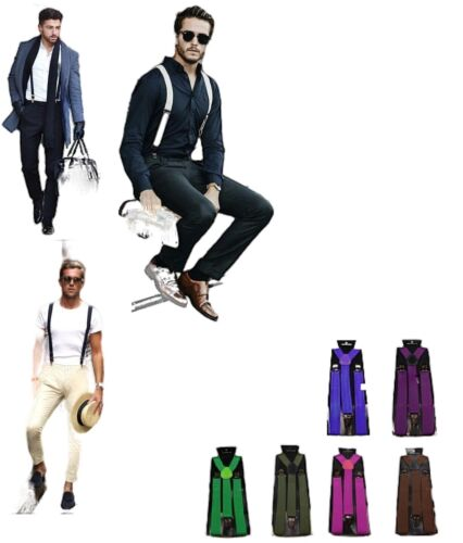NEW MENS SUSPENDERS ADJUSTABLE CLIP ON BRACES STRONG WEDDING PARTY WOMENS 85 CMS