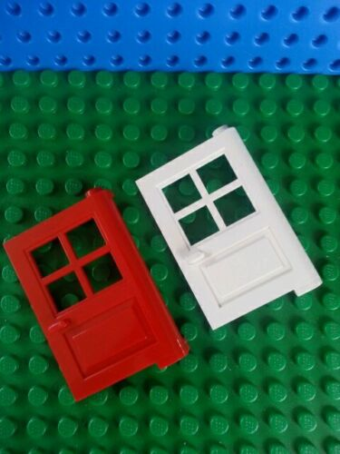 LEGO Minifig DOORS 1 x 4 x 5 with 4 Panes x2 Type 2 Red House Friends Creator
