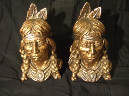 RARE! 2 BIG VINTAGE 1966 NATIVE AMERICAN CHIEF INDIAN BOOKEND BUST STATUE PIECES