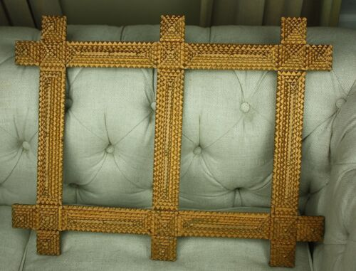 Antique Tramp Folk Art DOUBLE PICTURE FRAME 5-Layer Large Pyramid Studded Gold